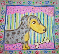 Dachshund Jester Playing Guitar Vintage Style Pop Art Print 8x10 Dog Collectible