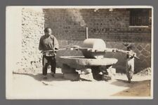 Real Photo Postcard Tsingtau, China Old Stone Grinding Mill Woman & Child Moving