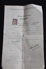 CZECHOSLOVAKIA- 1915, A REVENUE STAMP ON A CERTIFICATE UNIVERSITY,PRAGUE