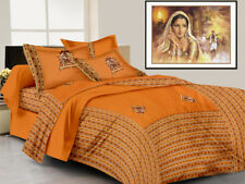 Indian Rajasthani Handmade Embroidered Cotton Bed Sheet Two Pillow Covers Set