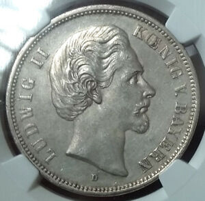 *** NGC *** GERMANY BAVARIA 5 MARK 1875 CHOICE ABOUT UNC! RARE! CV ~ $500. k3
