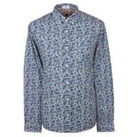 Pretty Green Shirt Mens Designer Casual Long Sleeve Floral Liberty Print Blue