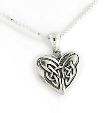 """Celtic Knot Eternal Heart Sterling Silver Pendant 18"""" Chain Necklace"""
