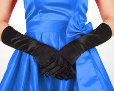 femme long satin noir Gants longueur coude Habillage soirée doigt - Par