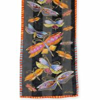 "Laurel Burch 100% Silk Scarf  ""Dragonflies"" Black 11"" x 53"""