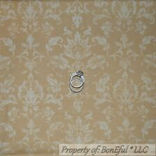 BonEful Fabric FQ Cotton Quilt VTG Brown Natural Cream Light Damask Calico Toile