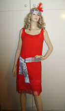 LADIES 1920S 20s RED FLAPPER CHARLESTON FANCY DRESS COSTUME OUTFIT M USED