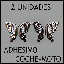 2x ADHESIVO DECORATIVO COCHE MARIPOSAS SIMIL METAL 3D