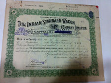 INDIAN STD WAGON LTD STOCK SCRIP SHARE CERTIFICATE BLUE EMBOSSED REVENUE 1926