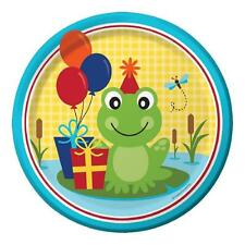 """Frog Pond Fun Balloons Animal Kids Birthday Party 9"""" Paper Dinner Plates"""