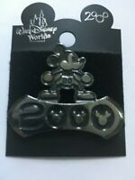 WDW Silver & Black Mickey Mouse Ears Disney Year 2000 Pin New On Original Card
