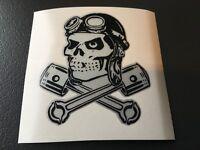 MOTO GUZZI Pistons Skull Sticker vinyle laminé