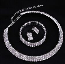 Wedding Bridal Choker 3 Row Set Necklace Earrings Bracelet Diamante Rhinestone