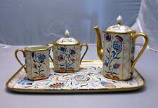 Vintage French or German Oriental Style 4 pc Coffee Tea Set, Creamer, Sugar Tray