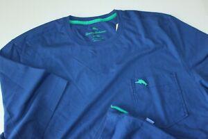 Tommy Bahama Tee Shirt Bali Skyline Embroidered Cobalt Blue SS Large Tall LT
