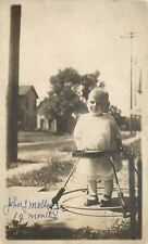 Ten Month Old John Molloy Jr~Vintage Rolling Wooden Baby Walker~1905 RPPC