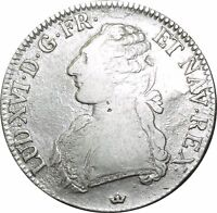 O522 Ecu Louis XVI branches d'oliviers 1781 M Toulouse Argent Silver ->FO