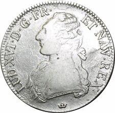 O522 Ecu Louis XVI branches d'oliviers 1781 M Toulouse Argent Silver ->FO