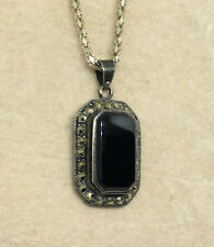 "925 Sterling Silver- 18"" Chain-Onyx and Marcasite Recetangle Pendant - 7.1g #227"
