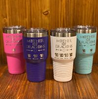 MOTHER OF DRAGONS PERSONALIZED TUMBLER WITH KIDS NAMES GAME OF THRONES NOT YETI
