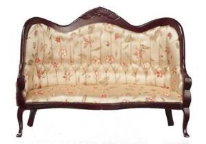Dolls House Victorian Mahogany Gold Sofa Miniature Living Room Furniture