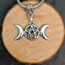 Wicca Triple Moon Antique Silver Tone Charm Beads For European Bracelets