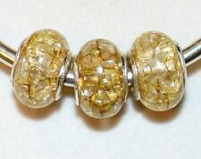 5x CRACKED YELLOW STERLING SILVER ACRYLIC BEADS LOT G77 FITS EURO DIY CHARM BRC