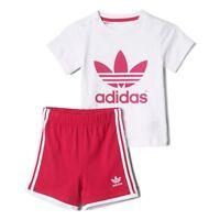 adidas Originals girls baby cerise 3 stripe shorts & top set. Summer set. 3-18M.