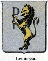 Leonessa: Piccolo Stemma del 1901. Rieti. Lazio. Cromolitografia + Passepartout