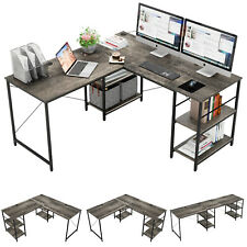Large Computer Office Desk 95 In L Shaped Table Pc Home Workstation With Shelves