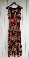 60s Bohemian Dress Pleated Skirt Size Small Festival Maxi Fred Rothschild Vtg