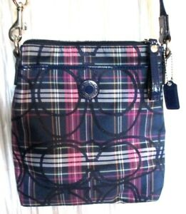 NEW  **COACH** Jacquard/Leather, Blue Plaid, Crossbody/Messenger Bag