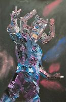 ORIGINAL Abstract Galactus Silver Surfer Marvel Comic Pop Art Painting 11x17""
