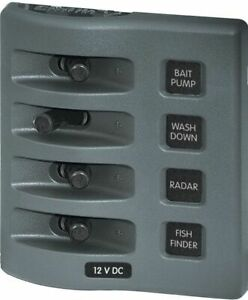 Blue Sea 4309 WeatherDeck/Proof Electric 4 Switch Panel 45A 12V Boat Marine MD