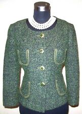 Ann Taylor Loft Jacket Sz 10 Knit Suit Green Wool Boucle Military Style Dress