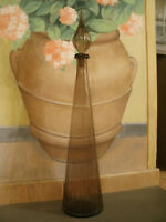 Bellissima Antica Grande BOTTIGLIA in Vetro Marrone, Forma Cono h 67 cm