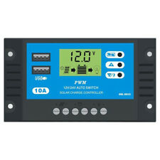 10-30A 12V/24V Solar Charge Controller PWM LCD Dual USB Output Charger Regulator