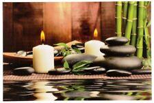 LED Leinwand Bild Bambus mit Kerzen und Steingarten 60cm X 40cm Wandbild