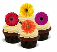Novelty GERBERA Individual Flower Mix 12 STANDUPS Edible Cake Toppers Birthday