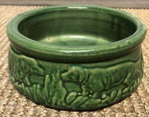 Vintage 1930s McCoy Pottery Green Dog Bowl / Dish