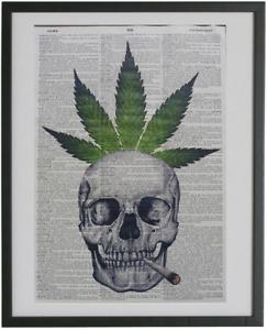 Skull Cannabis Print No.619, marijuana prints, dictionary art, weed posters