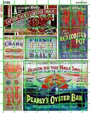 2105 DAVE'S DECALS HO SCALE & UP DECALS SEAFOOD FISHING OYSTER CRAB RESTAURANT