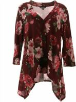 Slinky® Brand Sweater Knit Jacket Sharkbite Hem 678-000 Wine Floral 2X