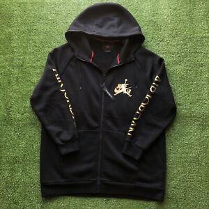 Nike Air Jordan Jumpman DMP Full-Zip Hoodie Classic CK2223-011 Black Gold Men XL