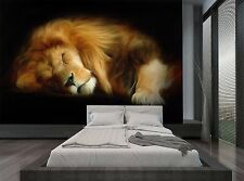 Animal Dark Black Art Sleep Lion Photo Wallpaper Wall Mural GIANT WALL DECOR