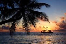 Classic Tropical Sunset in the Maldives Photo Art Print Poster 24x36 inch