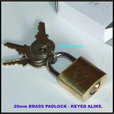 PADLOCK BRASS 20mm - KEYED ALIKE PADLOCKS - NEW.
