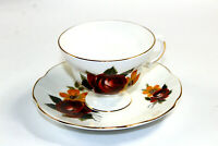 Vintage Royal Dover Bone China England Tea Cup Saucer Brown Gold Flowers MINT