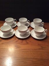 6 Cups And Saucers Johnson Bros Swirl Regency Snowhite England