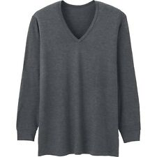 UNIQLO Men's HEATTECH Long-Sleeve V-Neck T-Shirt S GRY Stretch Under Garment NIP